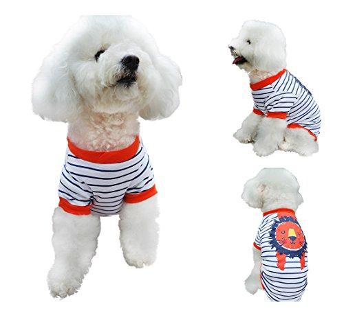 Chol & Vivi Shirts For Dogs Medium, Dog T-shirts Clothes Summer Cat Apparel Fit Medium Small Large Extra Small Dog Boys Dog Girls, 2PCS Adorable Animal Printing Cotton Dog Shirts, Medium Size by Chol & Vivi (Image #3)