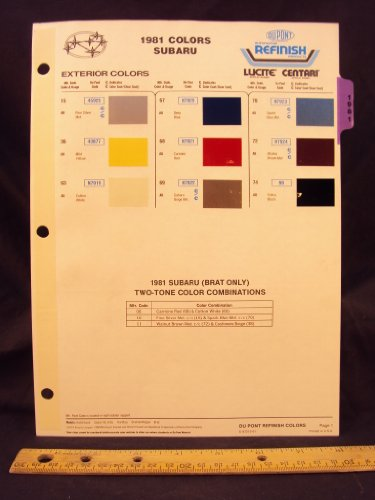 Subaru Hardtop (1981 81 SUBARU IMPORT Hatchback, Sedan BL, Sedan GL, Hardtop, Station Wagon, & Brat Paint Colors Chip Page)