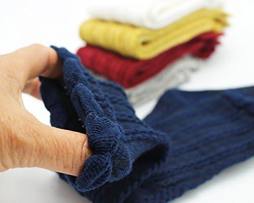 Yaobabymu 5 Pairs Toddler Lace Tube Stocking Knit Knee High Cotton Socks for Unisex Newborn Baby Girl Boy