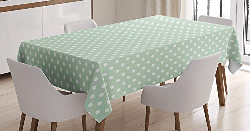 wanxinfu Mint Rectangular Tablecloth Retro Polka Dots Motif with Little Circle Round Shapes Elegance Vintage Design Table Cover for Kitchen Dinning Tabletop Decoration 54x87in ()