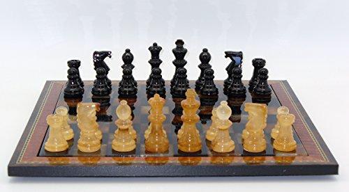 Alabaster Wood Frame Chess Set in Black / (Brown Alabaster Chess Set)