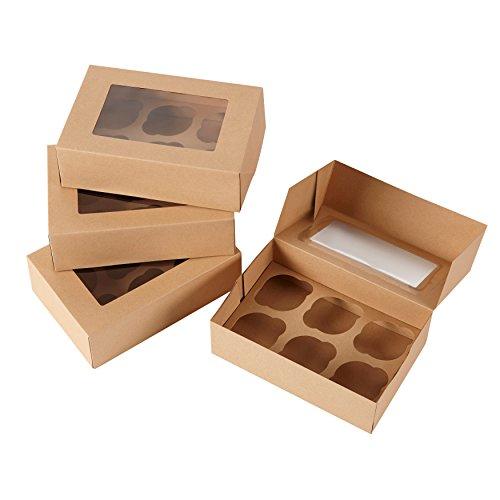 Wilton 6-Cavity Kraft Cupcake Gift Boxes, Multipack of 2