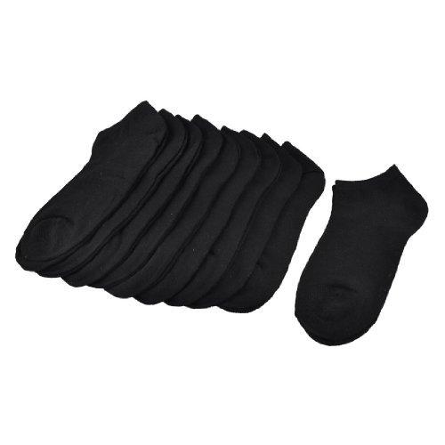 eDealMax Mujeres Negro Color slido Corto escotado Correr Calcetines 10 Pares