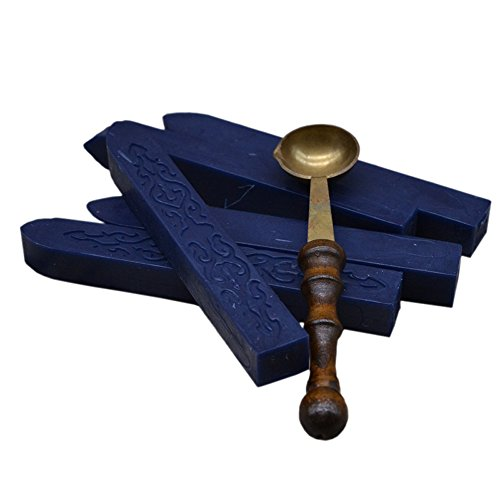 Blue Postage Stamp - 1PC Sealing Spoon + 5 Pcs Flowers Manuscript Sealing Seal Wax Sticks Sealing Wax for Postage Letter Retro Vintage Wax Seal Stamps in Navy Blue