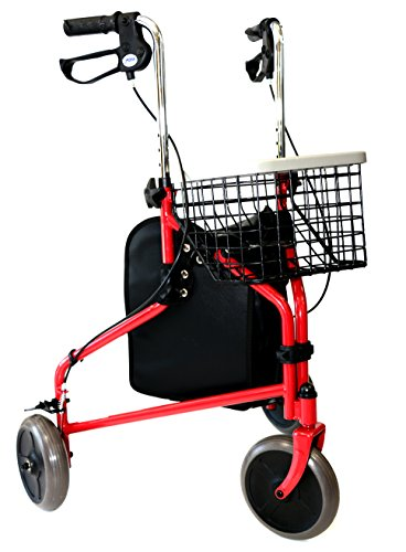 Lightweight 14 lbs, Folding Walker With Wheels, 3 Wheel Rollator Walker With Tray, Basket, and Bag (Red) by Mobb