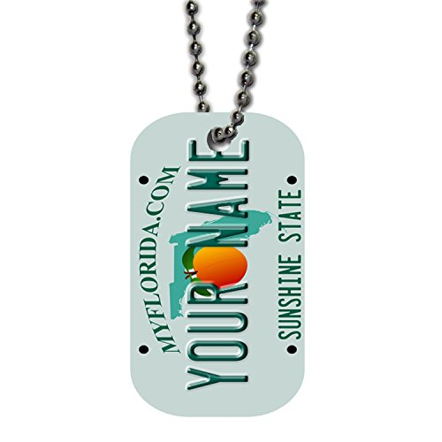 BleuReign(TM) Personalized Custom Name Florida State License Plate Single Sided Metal Military ID Dog Tag with Beaded Chain