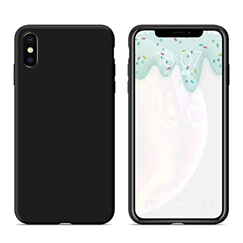 Boulders.iPhone Case, iPhone x/iPhonex Case, Soft Silicone Rubber Case with Fiber Flocking Lining for Apple iPhone x/iPhone x. (Gentleman Black)