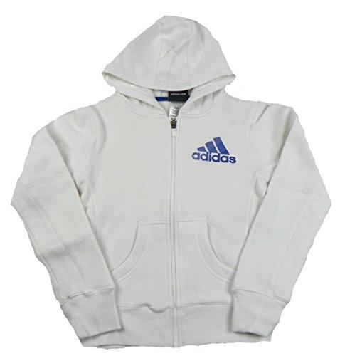Girl's 7-16 Adidas Full Zip Performance Hoodie, White (XL 16)