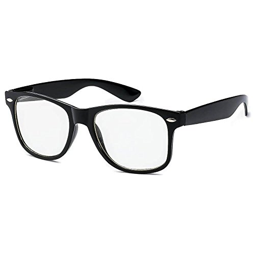 (Kids Nerd Glasses Clear Lens Black Wayfarer Frame UV400 Protection (Ages 3-10) - Thacher's)