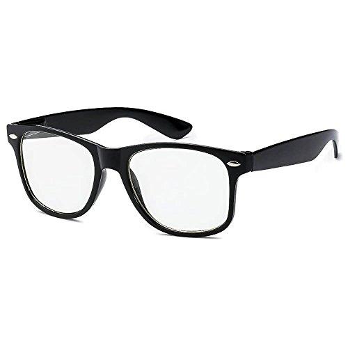 Kids Nerd Glasses Clear Lens Black Wayfarer Frame UV400 Protection (Ages 3-10) - Thacher's Nook]()