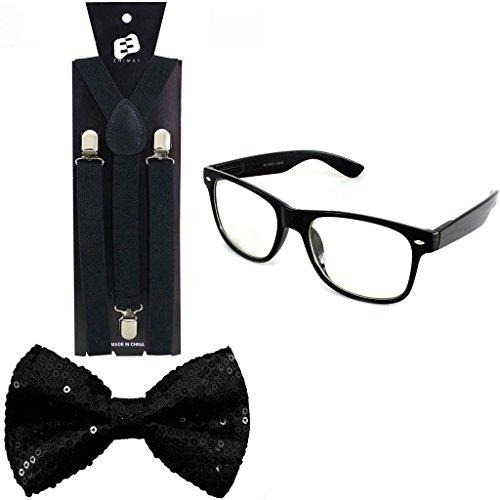 Enimay Suspender Bowtie Wayfarer Clear Glasses Nerd Costume Halloween Sequins Black ()