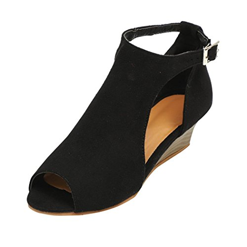 Womens Wedges Dress Sandals Fish Head Ankle Strap Peep Toe Platform Summer Shoes (Black, US:7)