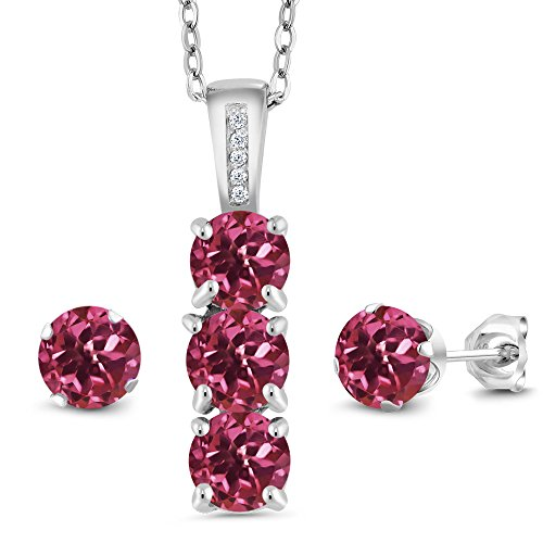 2.54 Ct Pink Tourmaline White Diamond 925 Sterling Silver Pendant Earrings Set by Gem Stone King (Image #3)
