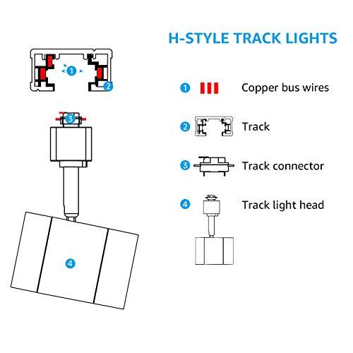 LEONLITE 4 Pack 8.5W(50W Equiv.) Integrated CRI90+ LED Black Track Light Head, Dimmable 38°Beam Track Lighting, 500lm Energy Star ETL-Listed, for Accent Task Wall Art Exhibition, 2700K Soft White by LEONLITE (Image #2)