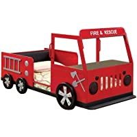 Furniture of America Youth Fire Truck Design Metal Bed, Twin, Red and Black