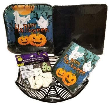 Halloween Plates, Napkins, Glow in The Dark Balloons, and Spider Web Basket - Party Supply Pack - (47 Piece Bundle Serves 24)