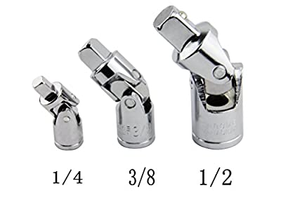 "Leadrise® 3pc Swivel Universal Joint Air Impact Socket Set Sizes =1/2"" -3/8"" -1/4 Inch Drive"