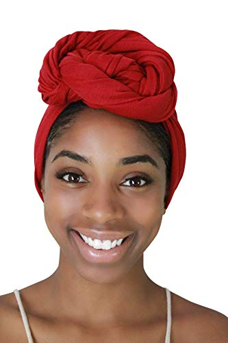 Rayna Josephine Stretch Head Wrap - Long Solid Color Turban Hair Scarf Tie (Ruby Red)