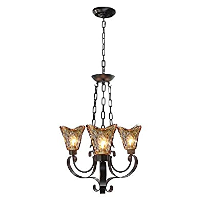 LALUZ Traditional Chandeliers 3-light Pendant Lighting Glass Ceiling Lights