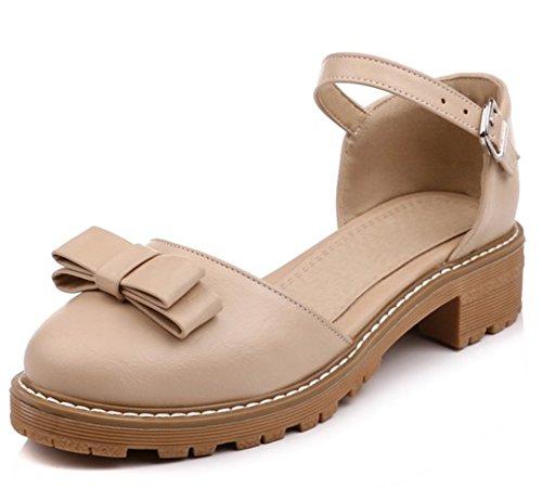 Vestito Bowknot Fibbia Delle Tacchi Albicocca Alla Bassi Rotonda Casuale Caviglia Corte Punta Grosso Scarpe Donne Cinghia Aisun Di wIqpn1dHSI