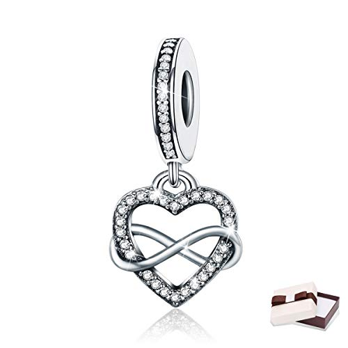 BAMOER Charm Sterling Silver Infinity Love Symbol Dangle Heart Beads Charm for Bracelet