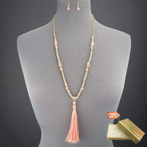 - Long Gold Chain Multi Colored Faceted Stone Beads PinkTassel Statement Necklace Set For Women + Gold Cotton Filled Gift Box for Free