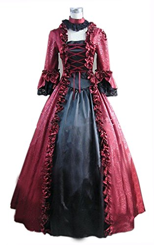 Nuoqi Gothic Victorian Costume Women's Halloween Cosplay Dress (XX-Large, Wine Red&Black) (Good Halloween Costumes For High School)