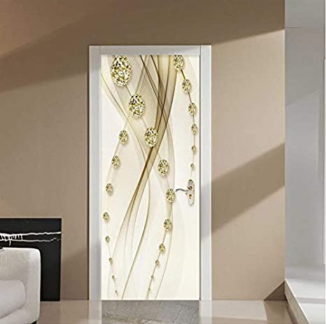 Etiqueta de la Puerta Bola Oro Línea Pintura Papel Tapiz 3D Estilo Europeo Diseño de la casa Calcomanías para Puertas PVC Autoadhesiva Etiqueta de la Pared 77x200 cm: Amazon.es: Hogar