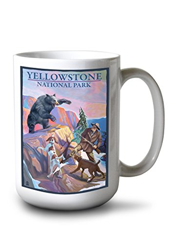 Lantern Press Yellowstone National Park - Bear Hunting Scene (15oz White Ceramic Mug)