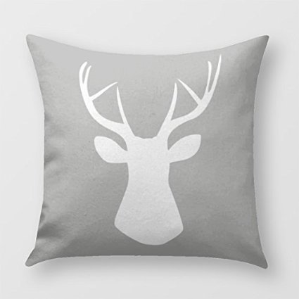 Pleasant Woodland Deer Head Throw Pillow Cover For Sofa Or Bedroom In Gray And White Inzonedesignstudio Interior Chair Design Inzonedesignstudiocom