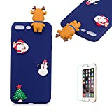 Cute Cartoon Case For iPhone 7 Plus/iPhone 8 Plus,Funyee Stylish 3D Christmas Deer Design Ultra Thin Soft TPU Silicone Case for iPhone 7 Plus/iPhone 8 Plus 5.5 inch,Anti-scratch Rubber Durable Shell Smart Phone Case with Free Screen Protector,Blue