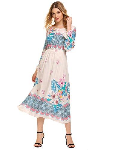 2fe81f3086315 Zeagoo Women's Bohemian Long Sleeve Button Print Casual Long Maxi Dress