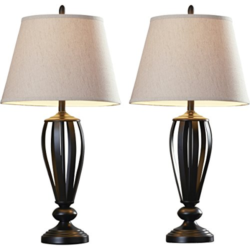 Rustic Bronze Metallic Twisted Table Lamp with Empire Fabric Shade (2-Pack) by Three Posts