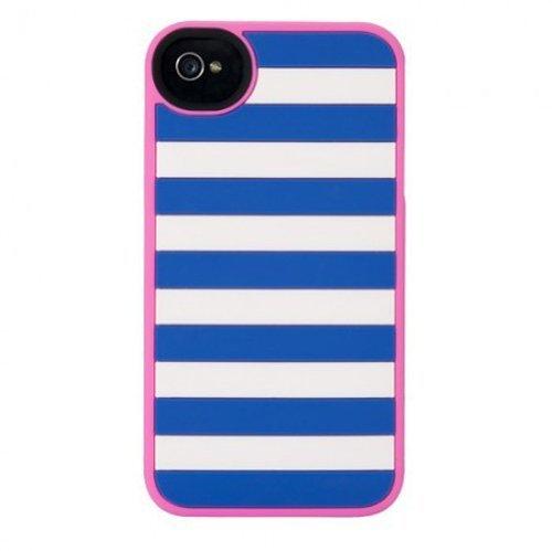 Agent18 KATA18IP41003 Soft Cover für Apple iPhone 4/4S StripeVest blau/pink
