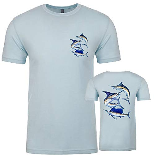 Men Blue Marlin T-Shirt Fishing Sailfish Short Sleeve Top Fish Ocean Tee Blue L