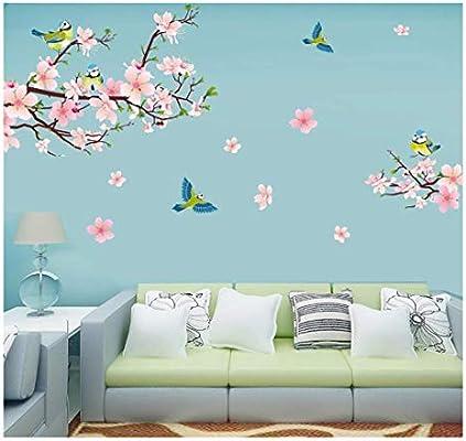 1X Rosa Kirschblüte Pfirsich Blumen Baum Wandaufkleber Wandtattoo Wandsticker