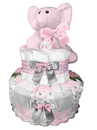 Elephant Diaper Cake - Baby Shower Gift - Centerpiece - Pink and Gray from Sunshine Gift Baskets
