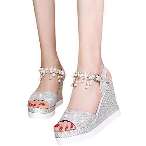 Women's Hi-Lo High Heel Platform Pump Sandals Pearl Ankle Strap Chunky Block Heels Open Toe Shoes (Silver, 6)