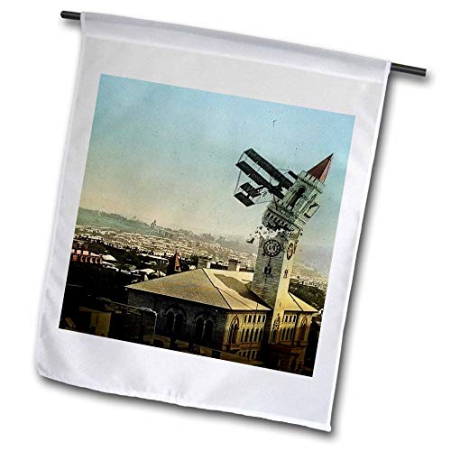 3dRose Scenes from The Past - Magic Lantern - Dangers of Early Flight Biplane Chrashing into a Building Vintage - 18 x 27 inch Garden Flag (fl_301249_2) ()