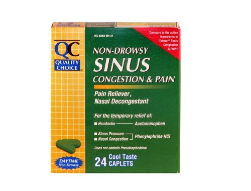 Quality Choice Non-Drowsy Sinus Congestion & Pain Relief Caplet, 24-Count Boxes (Pack of 4)