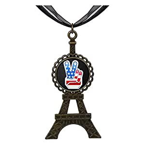 Chicforest Bronze Retro Style Chrome American V Independence Day theme Eiffel Pendant