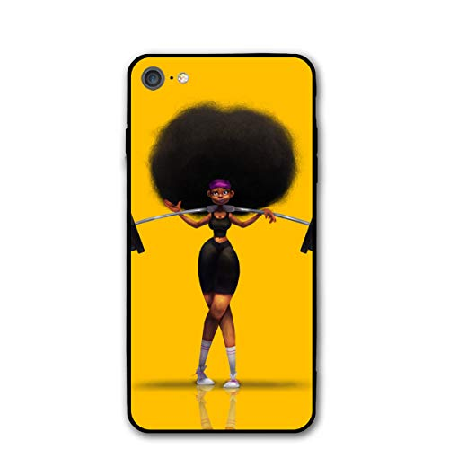 Afro Hair Girl African Woman Yellow Eccentric iPhone 7 8 Phone Case Cover Theme Decorative Mobile Accessories Ultra Thin Lightweight Shell Pattern Printed