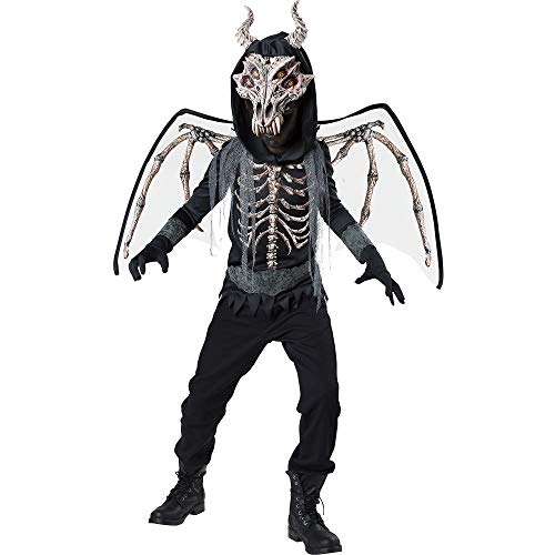 Fun World Underworld Skeleton Dragon Costume for Boys, Size Extra-Large, Includes a Shirt, a Mask, Wings, and More -