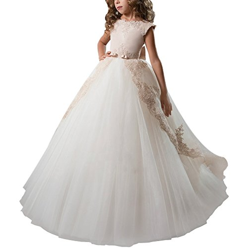 Little Big Girls Flower Lace Princess Long Pageant Communion Dresses Prom Tulle Ball Gown Wedding Bridesmaid Floor Length 7-16#J White 12-13 Years