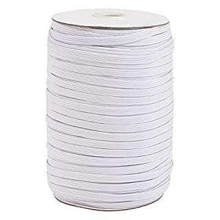 Elecrelive 200 Yards Braided Elastic Cord 1/4 inch White Flat Width Stretchy Elastic Band for DIY Jewelry Making Sewing and Crafting