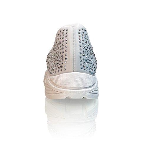 Marc Defang Exclusive Mujeres Ab Cristales Lycra Cómodo Slip On Fashion Sneakers