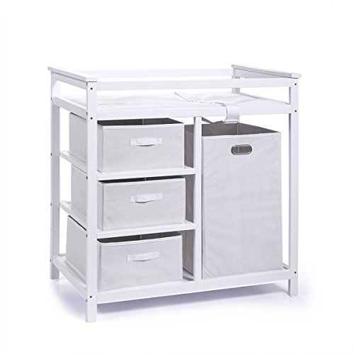 JAXPETY Baby Diaper Changing Table Basket Hamper Infant Nursery Station W/4  Basket Storage Drawers (White)