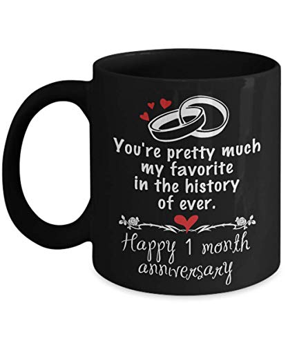 A.Patience - 1 Month Dating Anniversary Gifts for Boyfriend from Girlfriend - Happy 1th Month Anniversary Gifts Ideas For Her for Valentine's Day - Funny Ceramic Boyfriend Coffee Mug Tea Cup 11 OZ