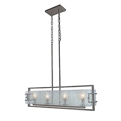 LALUZ 4-Light Kitchen Island Lighting Pendant Lights Linear Chandeliers