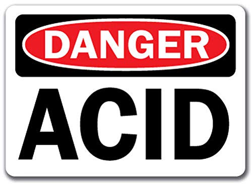 (Danger Sign - Acid - Safety Sign Label Decal Sticker Retail Store Sign Sticks to Any Surface 8